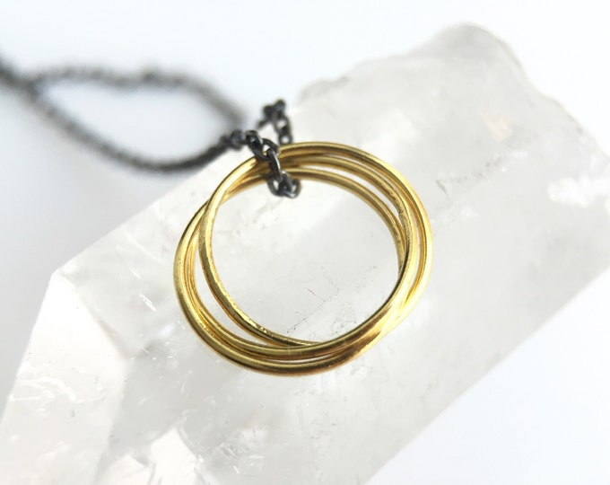 Gold Mini Rolling Rings Charm Necklace