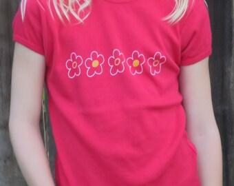 Girl's Whimsical Flowers T-Shirt