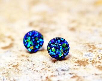 Tiny Ocean Blue Druzy Earrings, Blue Green Druzy Earring Metallic Glitter Faux Drusy Glittering Iridescent Blue Green Stainless Steel Stud