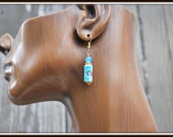 Porcelain Earrings, Flower Earrings, Blue Porcelain Earrings, Porcelain Tube Earrings, Casual Earrings, Everyday Earrings