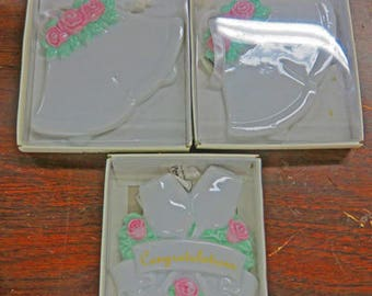 Wedding Ceramics x3 - Hang on a Stand for a Cake Topper or Centerpiece - Use on a package for wedding gift