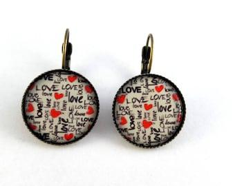 pierced ears pattern love retro stud earring heart