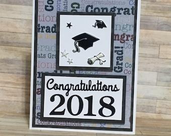 Graduation card, greeting card, handmade card, occasion card.