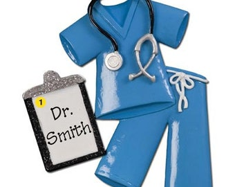 Personalized Christmas Ornaments-Blue Scrubs- RN, CNA ,Nurse, Doctor, Healthcare Professional, Hospital Technician gift