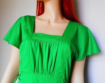 Original 70's apple green backless dress -size 10-12