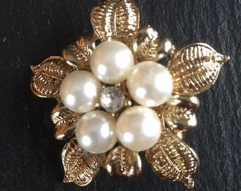 Vintage Floral Style Brooch 1960s Gold Tone Faux Pearl Clear Rhinestone Scarf Lapel Pin Birthday Mothers Day Gift For Her Retro