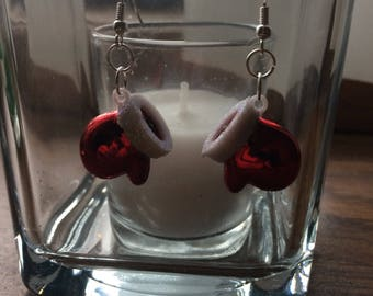 Mittens, Santa Hat, stocking stuffer, Coworker gift, unique earrings, unique gift, christmas earrings, holiday earrings, ready to ship