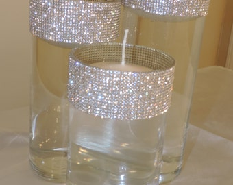 SALE!!! Rhinestone Rim Floating Candle Holders Wedding Bridal Party Beach Table Center Pieces (SET of 3)