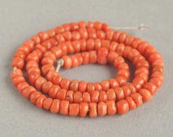 Antique Mediterranean Coral beads , Natural Coral, Jewelry coral, Coral necklace, Natural Salmon coral. FREE SHIPPING!!!