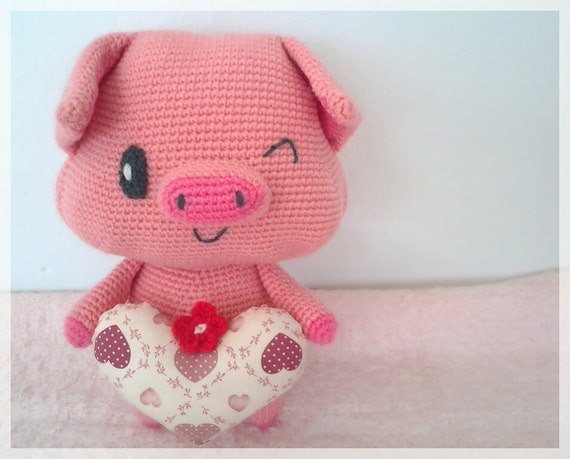 Amigurumi Pig : Pig with heart amigurumi crochet pig ready to ship