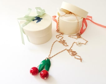 Cherry necklace Rose Gold Deluxe Edition Lucie cherries