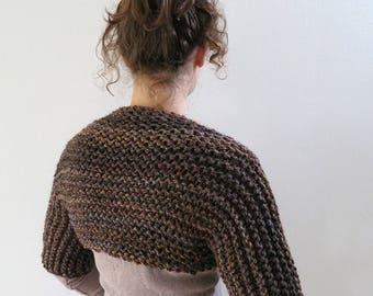 Rustic Brown Color Outlander Inspired Chunky Knitted Shoulder Shrug Bolero Sleeves