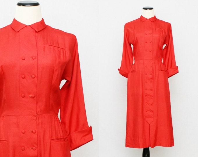50s Red Button Down Day Dress - Vintage 1950s Red Abby Kent Shirt Dress