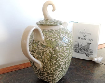 Porcelain Teapot, Handmade in Green and White with Hand Carved Birds and Flowers