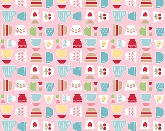 Bake Sale 2 Fabric by Lori Holt - Pink Bowls - Lori Holt Fabric By The 1/2 Yard or Fat Quarter