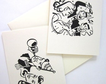 New Years Eve Party Cards Set of 10 in White or Light Ivory with Matching Envelopes