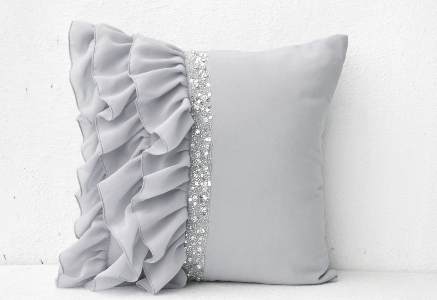 Silver Grey Ruffled Sequin Throw Pillow Cover Decorative