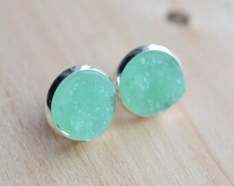 Mint Druzy Earrings - Aqua Druzy Earrings - Green Druzy Earrings - Druzy Post Earrings - Turquoise Druzy - Bridesmaids Gifts - Mint Earrings