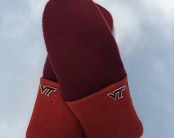 VA Tech Hokie Fans- Repurposed sweater mitten pair