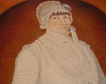 Vintage Folk Art - Portrait of a Lady - Clarissa Partridge Childs - Folk Art Portrait -