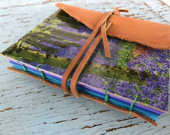 Handbound Leather Journal, junk journal, prayer journal, recycled upcycled paper, travel, nature