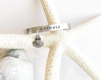 Mermaid with sea shell charm Hand Stamped Bracelet cuff hypoallergenic aluminum gifts for her surfer beach babe wahine mermaids beachy
