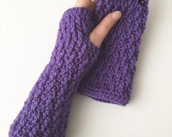 Crochet Long Fingerless Gloves   Purple   iGlove v2.0