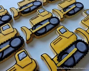 Bulldozer cookies- Construction cookies- Road crew cookies (#2424)