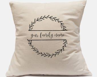 Custom Personalized Laurel Wreath Last Name Pillow