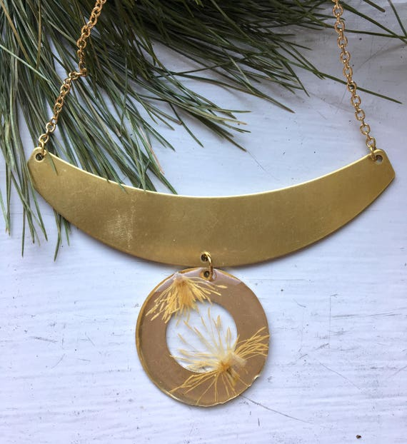 Clematis stamen circle with brass choker necklace
