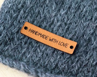 Handmade with Love Leather Tags - Laser Cut Leather Tags - Handmade with Love Sewing Labels