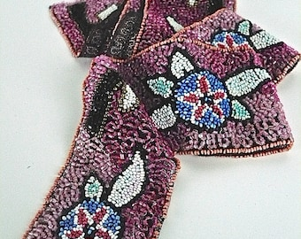 "Vintage 10s/20s Purple Beaded Trim, Black Net, Pink, Black, White, Blue, Glass Bugle, Seed Beads, 1 Yard, W  2"", Sold as a Whole, Edwardian"