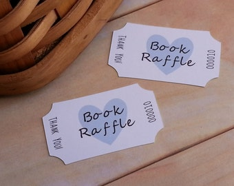 24 Book Raffle Tickets, Book Raffle Tickets for Baby Shower, Raffle Tickets, Custom Unique Book Raffle Tickets