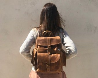 Leather Backpack, Women's Backpack, Leather Rucksack, College Bag, Travel Bag, Gift for Her, Made in Greece from Full Grain Leather, LARGE.