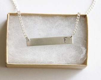 Initial Bar Necklace Silver Tone, Personalized Initial Necklace, Girl Gift, Gift For Her, Bar Necklace, Hand Stamped Initial Aluminum