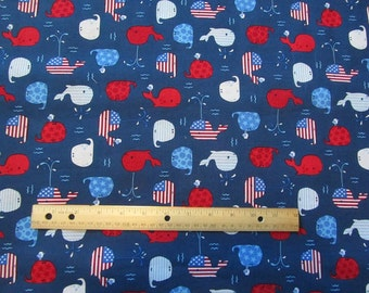 Blue Whales Fourth of July/Patriotic Cotton Fabric by the Half Yard