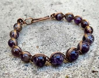 Amethyst Beaded Bracelet, Copper Wire Wrapped Bracelet, Amethyst Gemstone Bracelet, Oxidized Copper Bracelet, Purple Gemstone Bracelet