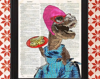 Tyrant in the Kitchen T-Rex Baking Cookies in vintage apron with beehive wig Gift for Mom Kitchen Decor Vintage Dictionary Page Art Print