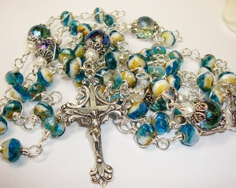 Catholic Rosary, miraculous rosary,Sterling Silver Crucifix Rosary and Center, Wire Wrapped Rosary, Abundant Grace Rosaries, unbreakable ros