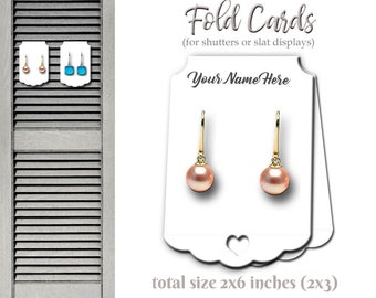 Earring Tent Cards, Jewelry Card, Shutter Display Cards, Fold Cards, Necklace Tags, Tent Cards, Labels, Necklace Display, Earring Display