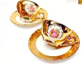 JWK Bavaria Gold Porcelain Demitasse Cup Tea Cup and Saucer Jean-Honoré Fragonard Marie Antoinette Set of 2