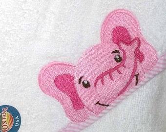 Pink Elephant Hooded Baby Towel   Baby Towel   Baby Shower Gift   Baby Girl Gift   Infant Baby Towel   Baby Boy Gift  