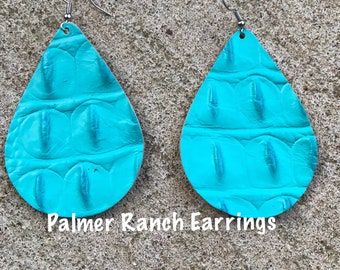 Turquoise croc hide earrings, turquoise, leather earrings, croc hide earrings, custom made earrings, leather, earrings