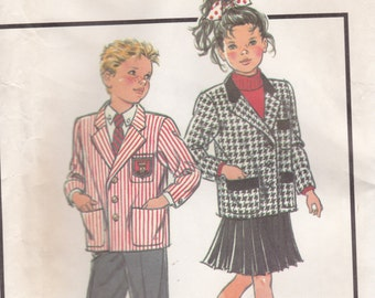 1980s Style Child's Pattern No 1395 for Child Lined Jacket Size 4-6 (Bust 23- 25 in)