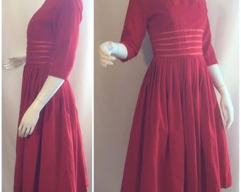 1950s Montgomery Ward Red Dress