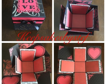Love Heart Explosion Box - Love exploding box, Explosion Box card, Photo album box, Black red and white Love box