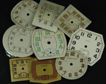 Vintage Antique Watch Dials Steampunk  Faces Parts Mixed Media Assemblage Scrapbooking LR 56