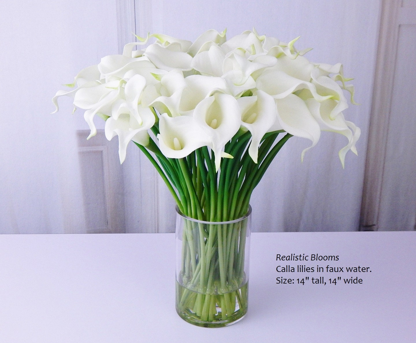 Whiteoffwhite calla lilylilies silk floral arrangement faux whiteoffwhite calla lilylilies silk floral arrangement faux water acrylic illusion real touch flowers centerpiece wedding gift izmirmasajfo Image collections