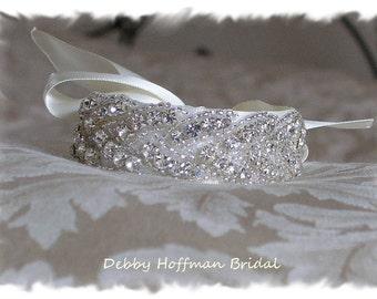 Bridal Cuff Bracelet, Beaded Rhinestone Crystal Cuff Bracelet, Jeweled Wedding Bracelet, Braided Cuff Bracelet, Bridesmaid Gift, No. 3010CB,
