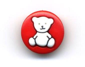 Button round red Teddy bear